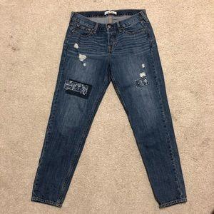 Hollister Distressed Patch Boyfriend Crop Jeans